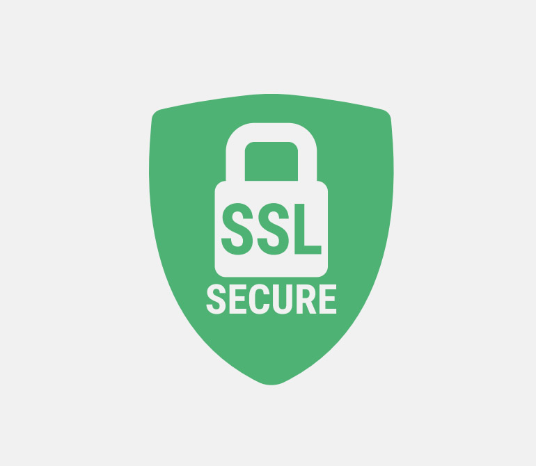 White Lock in a Green shield with words SSL Secure - Representing SSL/HTTPS in EquinoxCRM